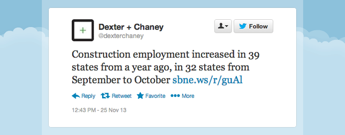 Construction employment increased in 39 states from a year ago, in 32 states from September to October.