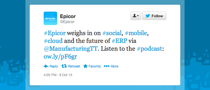 "Epicor tweeted ""Epicor weighs in on social, mobile, cloud, and the future of ERP. Listen to the podcast."""
