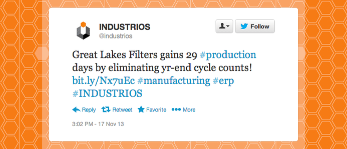 "Industrios tweeted ""Great Lakes Filters gains 29 production days by eliminating year-end cycle counts!"""