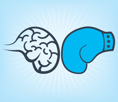 A boxing glove against a brain to illustrate breaking the normal process