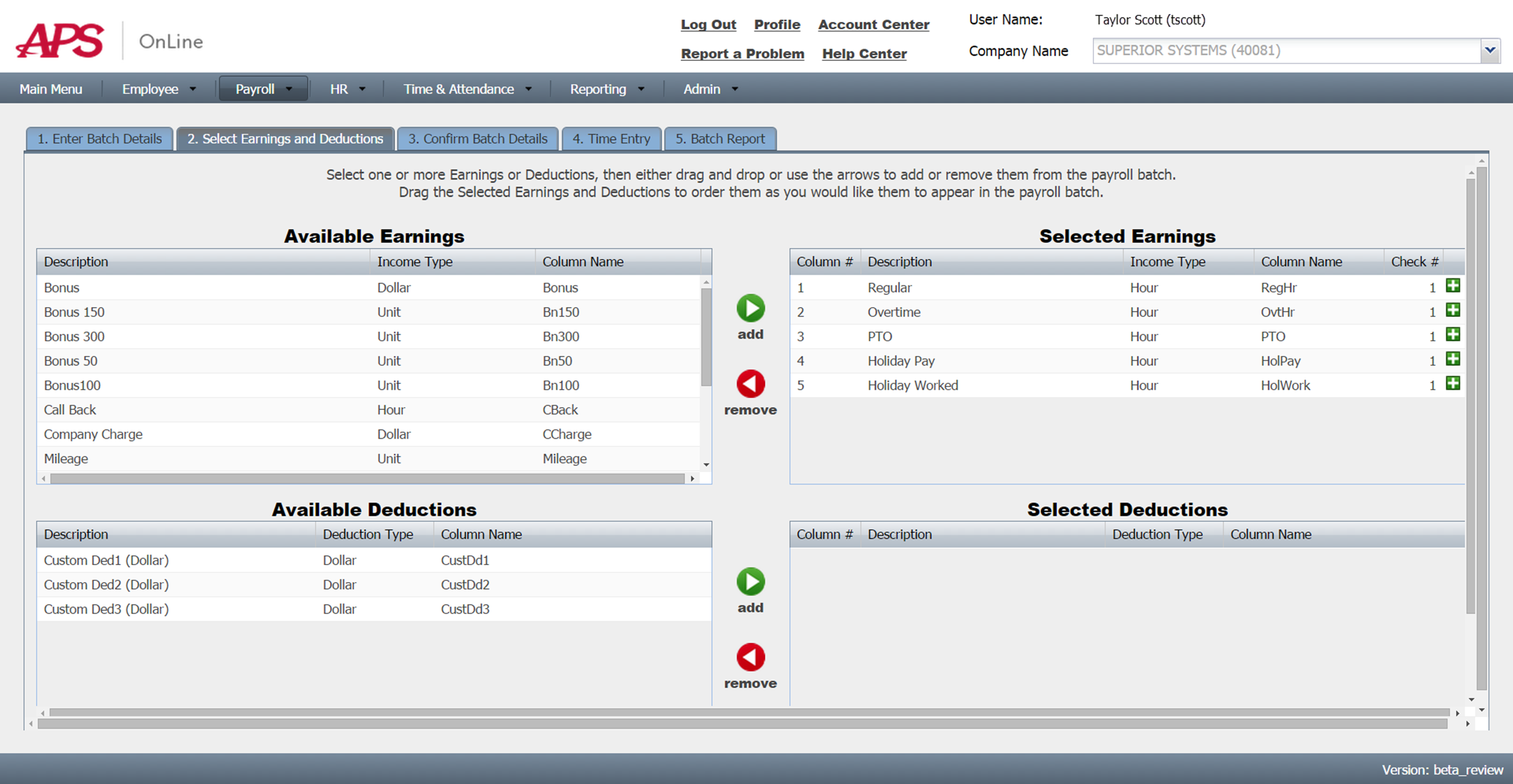 Screenshot: Earnings and Deduction Selection in Payroll Batch