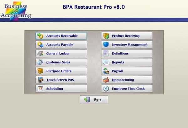 Screenshot: BPA Restaurant Pro Accounting Menu