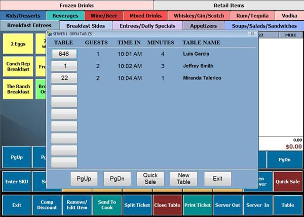 Screenshot: Table Selection Menu