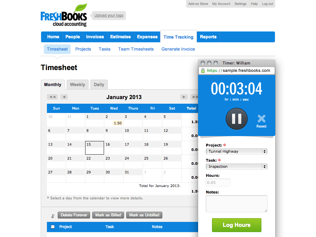 Screenshot: Project and task time tracking