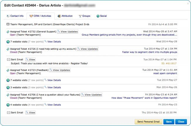 Screenshot: Contact CRM