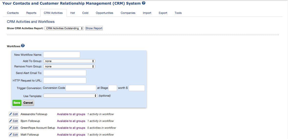 Screenshot: Workflows CRM Activities