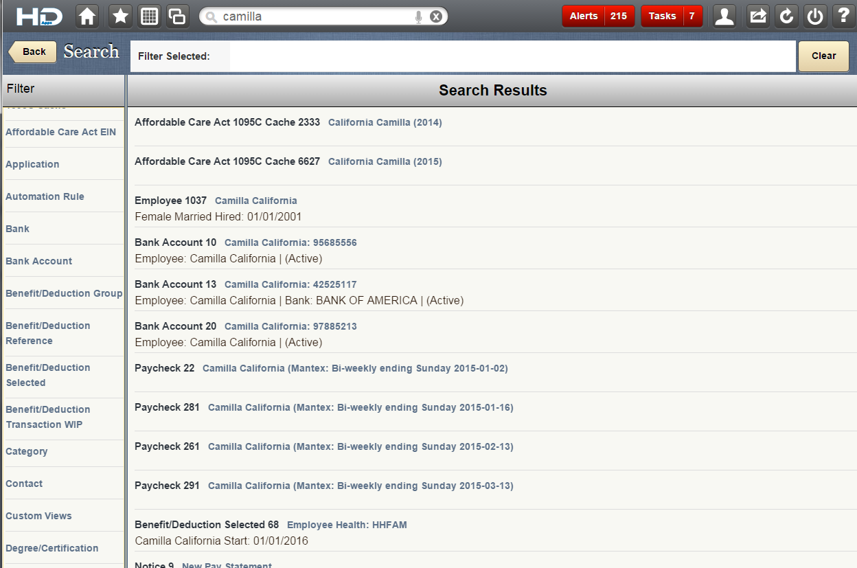 Screenshot: Search HR