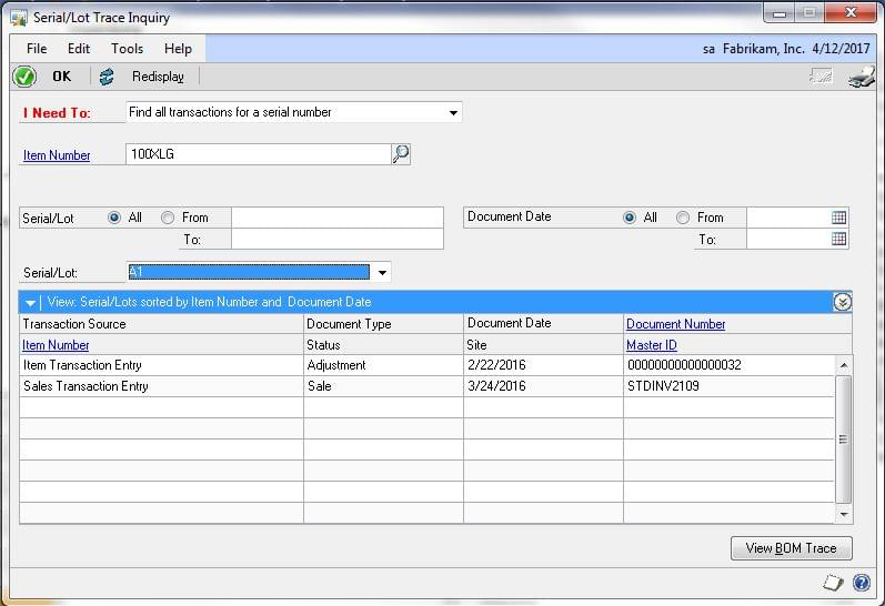 Screenshot: Inventory Control Application