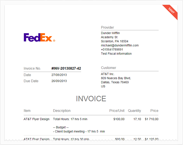 Screenshot: Invoice