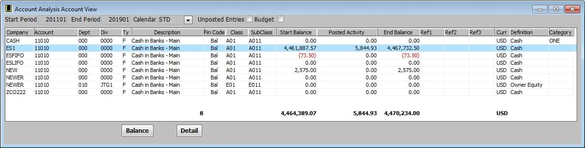 Screenshot: Multi Company General Ledger Analysis