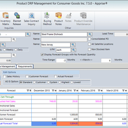 Screenshot: Product DRP Management Module