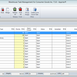 Screenshot: Warehouse Tasks Management Module & Data