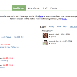 Screenshot: Dashboard View in Manager Self-Service
