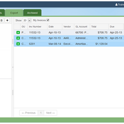 Screenshot: Invoice Filters
