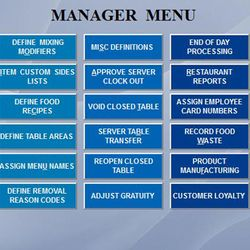 Screenshot: Restaurant Managers Menu