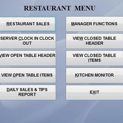Screenshot: Restaurant Menu