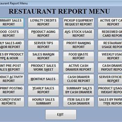 Screenshot: Restaurant Report Menu