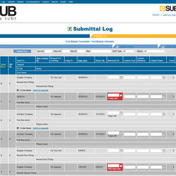 Screenshot: Submittal Log