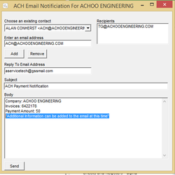 Screenshot: ACH Email Notification