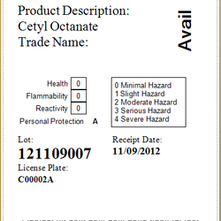 Screenshot: Raw Material Label