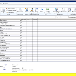 Screenshot: Accounts Payable Vendor List