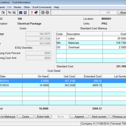 Screenshot: Cost Information