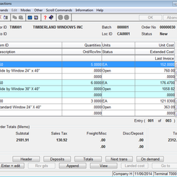 Screenshot: Purchase Order Transactions