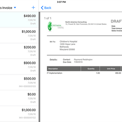 Screenshot: iOS Invoicing