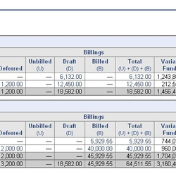 Screenshot: Billing Revenue Summary Report